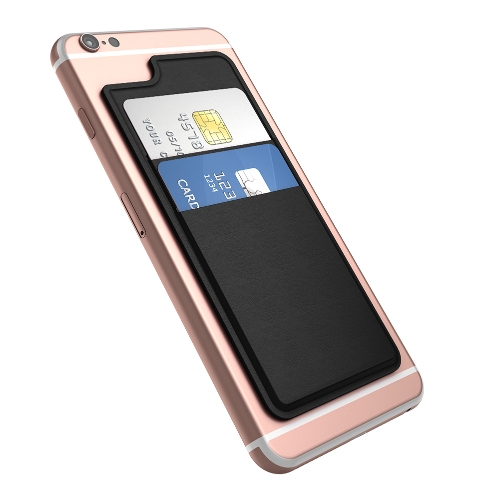 dodocool Ultra-slim auto adesivo cartão de crédito titular 2 Slot stick-on carteira para iPhone 6/6s Smartphones Black