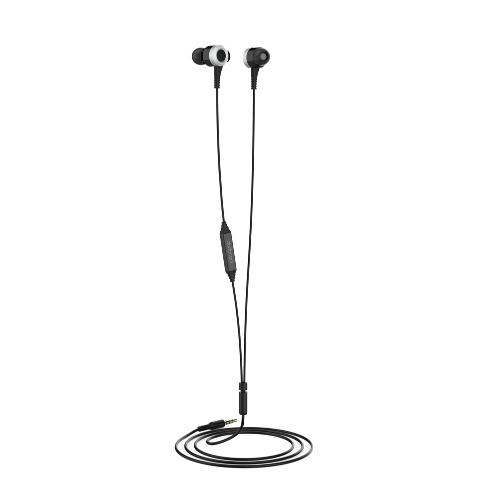 dodocool Hi-Res In-Ear Earphones com controle remoto e microfone 3,5 milímetros de áudio plug para iPhone 6 / 6s / Samsung S6 / S5 / Nota 4 / Blackberry / Nexus / PC e outros dispositivos Preto