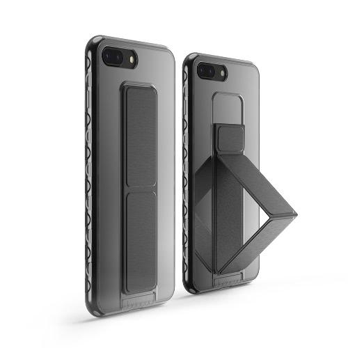 dodocool Ultra Slim Crystal Case protetora transparente com Black dobrável Kickstand aperto Titular antiderrapante absorção de choque Scratch Resistant cobrir escudo para 5,5 polegadas do iPhone 7 Plus Preto