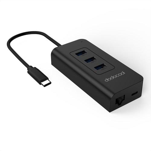 Dodocool USB-C 3.1 do 3-portowych portów USB-A 3.0 z kartą sieciową Gigabit Ethernet i dostarczaniem zasilania
