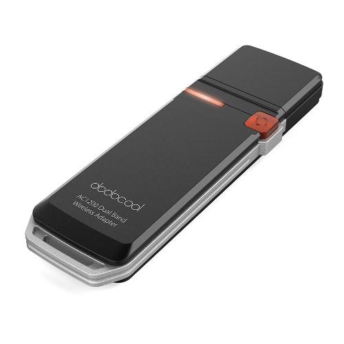 Banda di rete dodocool AC1200 dual Wireless USB 3.0 Adapter Wi-Fi Dongle 2,4 GHz a 300 Mbps o 5 GHz 867 Mbps WPS Encryption Supporto Windows XP / Vista / 7/8 / 8.1 / 10 / Mac OS X 10,4-10,10 nero