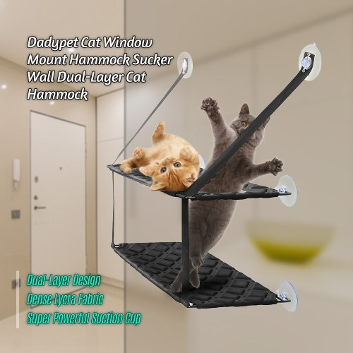 Dadypet Cat Window Mount Hammock Sucker Wall Dual-Layer Cat Hammock Sofa Mat Cushion Hanging Shelf Bed Max. Load Capacity 26 Pounds