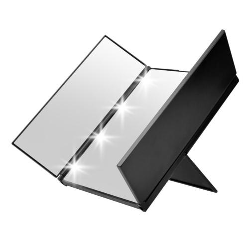 Specchio portatile per trucco a LED Illuminato con confezione da tote Specchio triplo pieghevole con supporto con due batterie CR2032