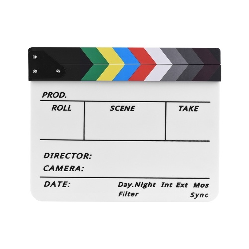 Professional Acrylic Clapboard Dry Erase TV Film Movie Director Cut Action Scene Clapper Board Slate With Marker Pen Eraser
