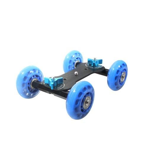 Table Top Dolly Mini Car Skater Track Slider Super Mute for DSLR Camera Camcorder Blue