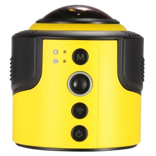 Секонд хенд Detu 360 градусов Панорамная камера Wi-Fi 1080P 30FPS 8MP Источник Fisheye Film для виртуальных очков VR Действие Спорт Спорт на свежем воздухе Камера Видеокамера Автомобильный видеорегистратор