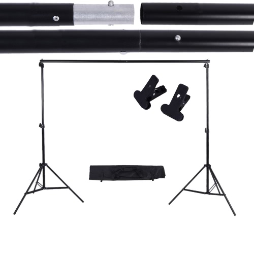 2 * 3m / 6.6 * 9.8ft Adjustable Support de Fond Kit de Support de Toile de Fond de Photo et Barre Transversale avec deux Pinces