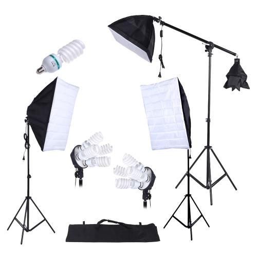 Fotografía Studio iluminación Kit 3pcs Softbox trípode soporte 45W 135W bulbo voladizo con bolso de Oxford