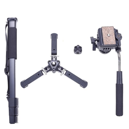 Andoer Yunteng VCT-288 Photography Tripod Monopod & Fluid Pan Head & Unipod Holder for Canon Nikon Camera