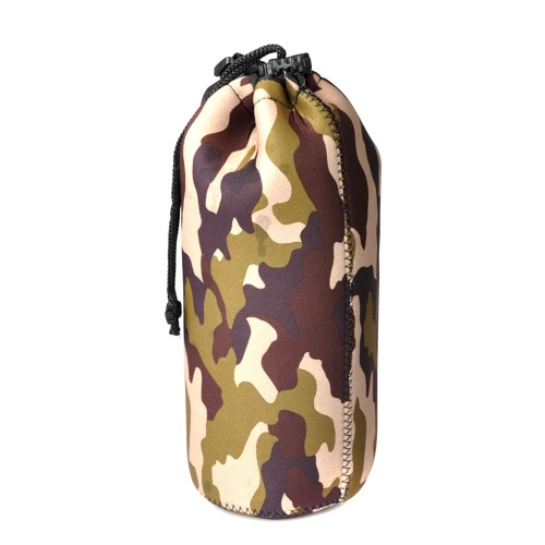 Drawstring Soft Pouch Case Bag Protector for DSLR Lens Canon Nikon Pentax Camouflage