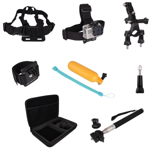 Andoer 9 in 1 Accessories Set Kit Chest / Head Wrist Strap Monopod Mount Kit with Portable Case for Gopro Hero 1 2 3 3+