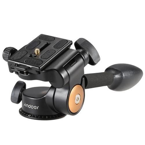デジタル一眼レフカメラの三脚一脚クイックリリースプレート付きAndoer Q08ビデオ三脚ボールヘッド3ウェイフルードヘッドロッカーアーム