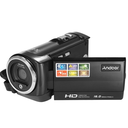 Andoer Mini Ecran LCD portable HD 16MP Zoom numérique 16X 720P 30FPS Anti-shake Enregistreur vidéo numérique DV Caméra Caméscope DVR