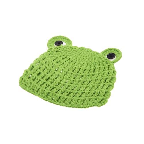 Dziecko Niemowlę Frog Froglet Crochet Knitting Costume Hat Miękkie Adorable Odzież fotograficzne Photo Rekwizyty do 0-6 miesiąca noworodka