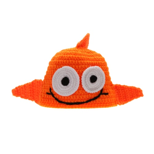 Baby Infant Cute Golden Fish Big Eyes Crochet Knitting Costume Hat Soft Adorable Clothes Photo Photography Props for 0-6 Month Newborn