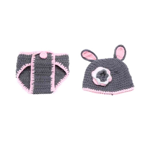 Baby Infant Rabbit Hare Crochet Knitting Costume Soft Adorable Clothes Photo Photography Props for 0-6 Month Newborn