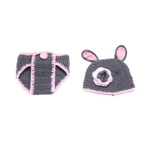 Baby-Kind Kaninchen Hare Crochet Knitting Kostüm Weiche entzückende Kleider Foto Fotografie Props für 0-6 Monate Neugeborene