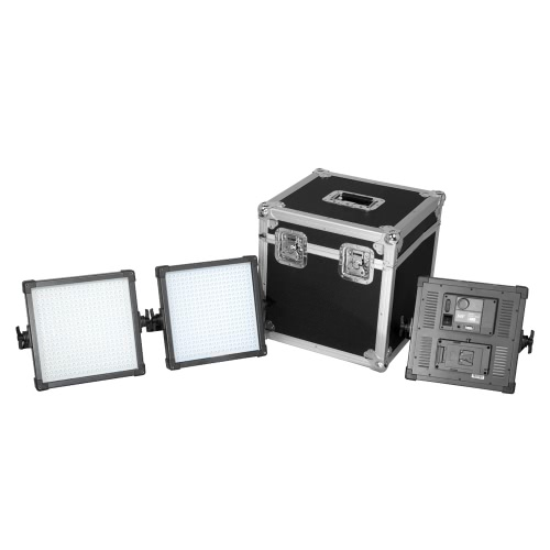 F&V 3pcs LED Ultra High Power K4000 Dimmable Panel Light Kit 5500K with V-Mount Plate & Converter Adapter & Aluminium Box