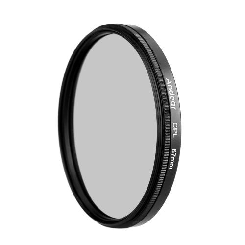 Andoer 67mm CPL Polariseur Circulaire Unltra-Mince Numérique Filtre en Verre pour l'Objectif de Caméra Canon Nikon Sony DSLR