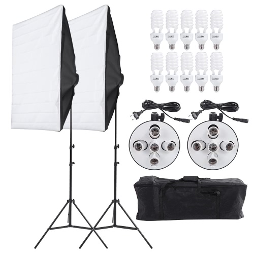 Andoer Photography Lighting Kit Softbox, Portrait Product Light Video Equipment (Softbox + 5in1 Light Socket + 10pcs 45W Bulb + Tripod Stand + Carrying Bag)