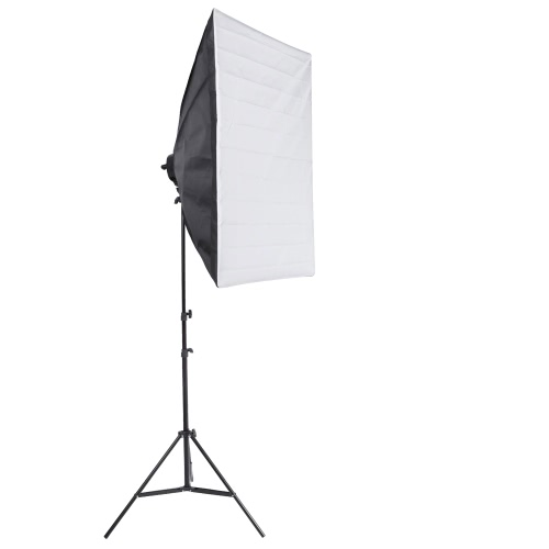 Photo Studio Video Continuous Lighting Kit Photography Light Stand Two 50 * 70cm Softbox Ten Bulbs Two Light Holder