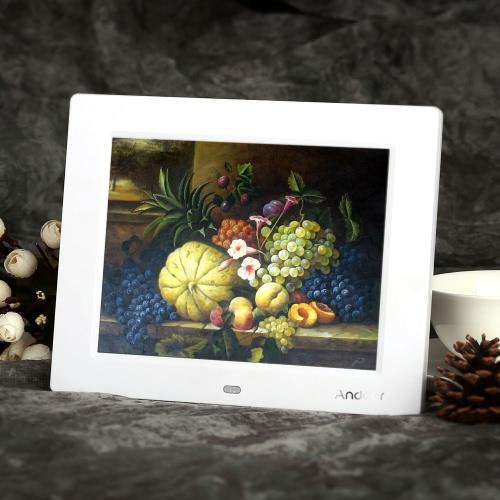 8'' HD TFT-LCD Digital Photo Frame Alarm Clock MP3 MP4 Movie Player with Remote Desktop
