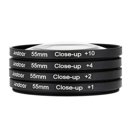 Andoer 55mm Macro Close-up Filter Imposta +1 +2 +4 +10 con il sacchetto per Nikon Canon DSLR