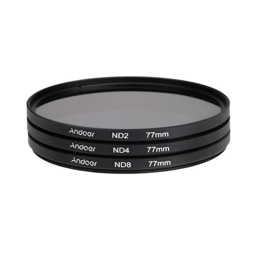 Andoer 77 milímetros Fader ND filtro Kit fotografia filtro de densidade neutra definida (ND2 ND4 ND8) para Canon Nikon Sony Pentax DSLRs