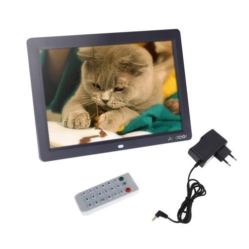 TFT-LCD HD 12 '' HD 1280 * 800 Cadre photo numérique pleine vue Réveil MP3 MP4 Film Lecteur avec bureau à distance