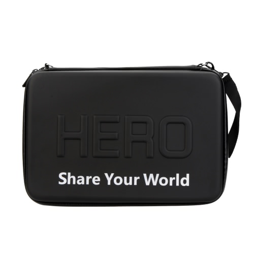Andoer Carrying Case Box Bag PU for GoPro Hero 4/3+ /3/2/1 Camera and Accessories with Strap Zipper Black