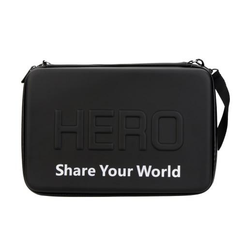 GoPro Hero 4/3+ /3/2/1 カメラ専用のPUバッグ、ブラックストラップジッパー付き