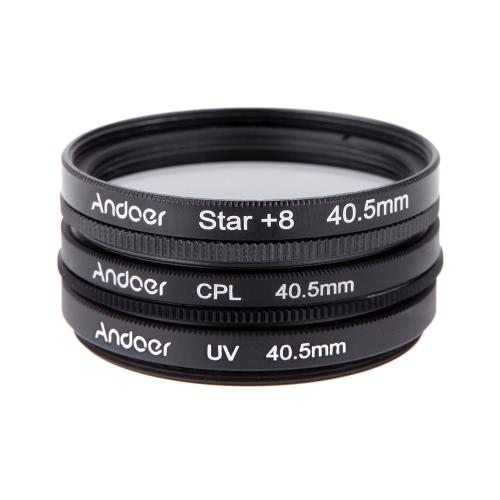 Andoer 40.5mm Filter Set UV + CPL + Star 8-Point Filter Kit with Case for Canon Nikon Sony DSLR Camera Lens