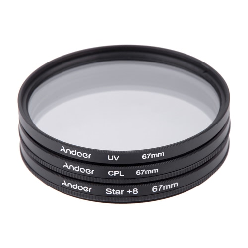 Andoer 67mm Filter Set UV + CPL + Star 8-Point Filter Kit with Case for Canon Nikon Sony DSLR Camera Lens