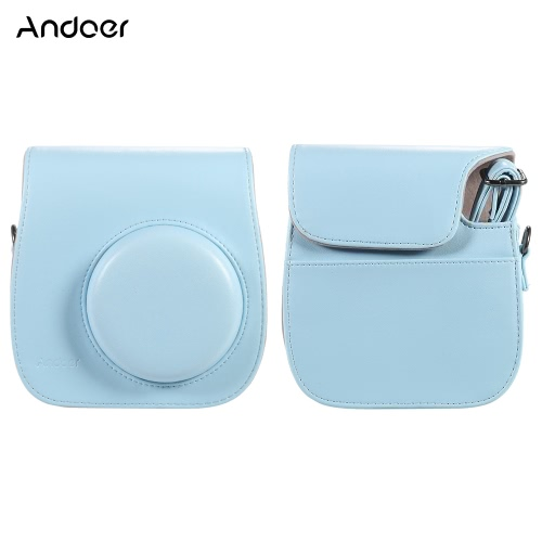 Andoer Leather Camera Case Bag Cover for Fuji Fujifilm Instax Mini 8/8s/8+/9 Single Shoulder Bag
