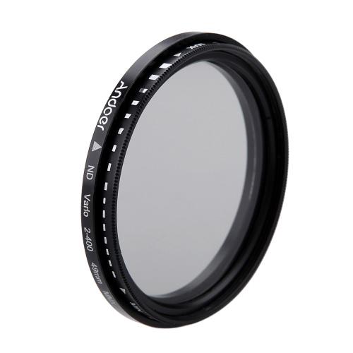 Andoer® 49mm ND Fader ND2 Neutral Density Regolabile a ND400 Filtro Variabile per Canon Nikon DSLR