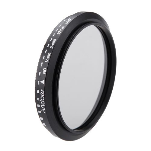Andoer® 52mm ND Fader ND2 Neutral Density Regolabile a ND400 Filtro Variabile per Canon Nikon DSLR