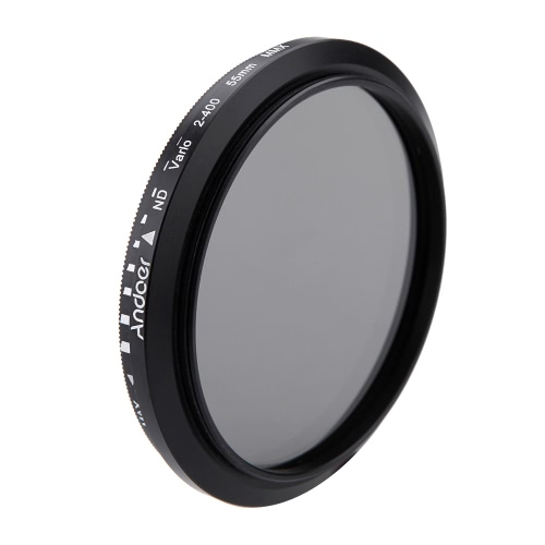 Andoer® 55mm ND Fader ND2 Neutral Density Regolabile a ND400 Filtro Variabile per Canon Nikon DSLR