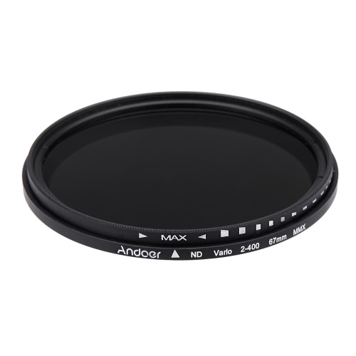 Andoer® 67mm ND Fader ND2 Neutral Density Regolabile a ND400 Filtro Variabile per Canon Nikon DSLR