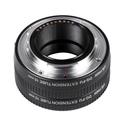 Viltrox DG-FU Auto foco extensión AF tubo anillo 10mm 16mm Set Metal montaje para lente de Macro montaje Fujifilm X