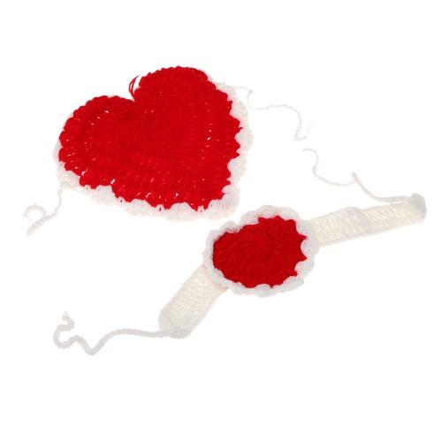 新生児用衣装柔らかい愛らしい服写真撮影小道具を編み花カチューシャ帽子かぎ針編みベビー幼児愛心腹帯
