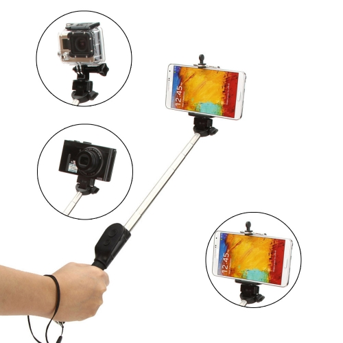Rotatable Telescoping Extendable Wireless Bluetooth Remote Shutter Handheld Selfie Self-Timer Pole Monopod for  GoPro SJCAM Mirrorless Card Camera with Adjustable Phone Holder for iPhone Samsung with IOS System Andriod 4.2 System or above