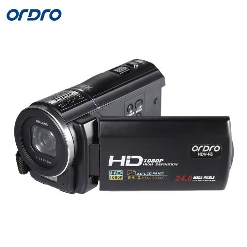 "ORDRO HDV-F5 1080P Full HD 3.0 ""Obrotowa cyfrowa kamera wideo z ekranem dotykowym LCD"