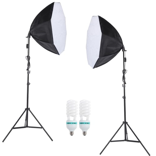 Professional Photography Photo Lighting Kit Set with 5500K 135W Daylight Studio Bulb Light Stand Octagon Softbox