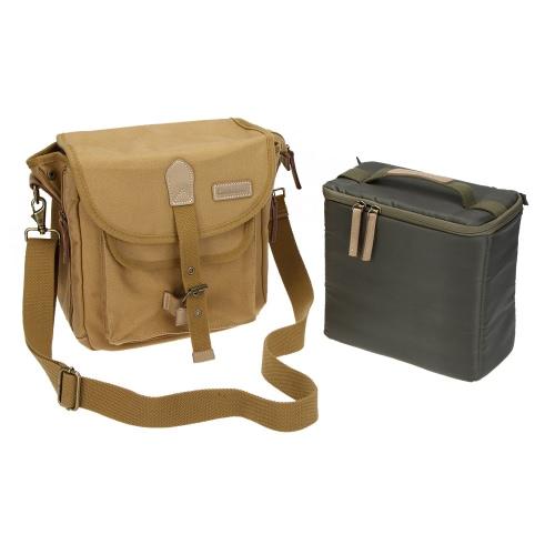 CADeN DSLR SLR Shockproof Camera Photography Protective Shoulder Carrying Canvas Messenger Vintage Bag Case for Sony Canon Nikon Olympus with Inner Bag Rain Cover