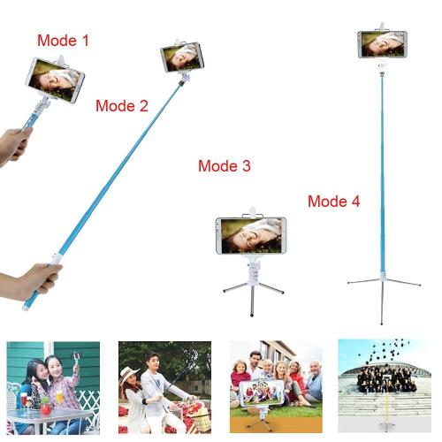 Dispho Wielofunkcyjne Lekkie Rozszerzalne Bezprzewodowe Zdalne Sterowanie Zdalne Sterowanie Migawka Handheld Selfie Polak Monopod Stick dla iPhone Samsung Sony Smartphone z Mini Statywem