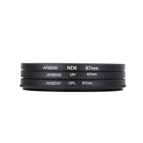Andoer® 67mm UV+CPL+ND8 Circular Filter Kit Circular Polarizer Filter ND8 Neutral Density Filter with Bag for Nikon Canon Pentax Sony DSLR Camera