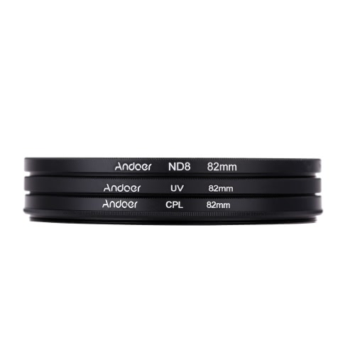 Andoer 82mm UV+CPL+ND8 Circular Filter Kit Circular Polarizer Filter ND8 Neutral Density Filter with Bag for Nikon Canon Pentax Sony DSLR Camera