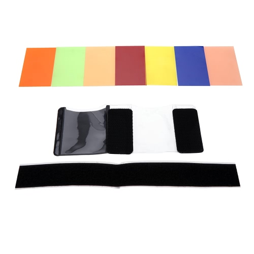 Universal 7 Colors Speedlite Square Color Filter Kit with Magic Strap for Canon Nikon Sony Pentax Olympus and Other Flashes