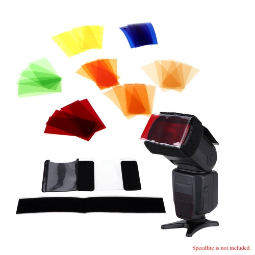 Universal 35pcs(7colors) Colors Speedlite Square Color Filter Kit with Magic Strap for Canon Nikon Sony Pentax Olympus and Other Flashes