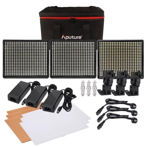 Aputure Amaran 1 * H528S + 2 * H528W LED ビデオライト セット CRI95 + 528 Led ライトパネル